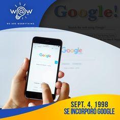WAW! Un día como hoy Larry Page y Sergey Brin incorporaron GOOGLE. Sabías que el primer nombre que utilizaron (para lo que hoy es google) fue BackRub?  Qué bueno que existe Google! #searchengine #wearewebrything #wawpr