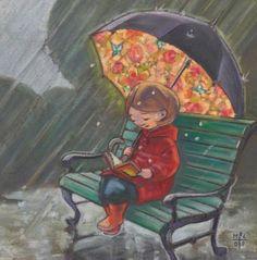 COLOR EMOTIONS IN PAINTING---------------umbrellas.quenalbertini: Rea- ding under the rain