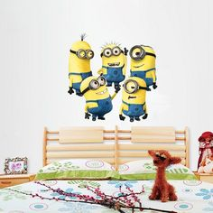 Cheap Minions Wall Sticker Home Decor Cartoon Wall Decal DIY for Kids Room Decal Baby Vinyl Mural Nursery Cheap Wall Stickers, Removable Wall Stickers, Wall Stickers Home Decor, Vinyl Decor, Cartoon Monkey, Cartoon Wall, Minions, Wall Decal Sticker, Vinyl Wall Decals