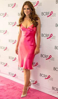 Elizabeth Hurley in a low cut hot pink silk dress and pumps Elizabeth Hurley, Pink Silk Dress, Satin Dresses, Celebrity Photos, Celebrity Style, Celebrity News, Pink Parties, Beautiful Celebrities, Beautiful Women