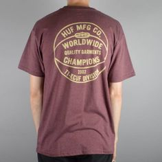 HUF Division Champions T-Shirt - Wine Heather - HUF from Native Skate Store UK