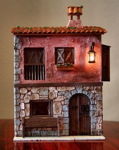 Pin by Catherine Huang on Presepi Pottery Houses, Ceramic Houses, Putz Houses, Fairy Houses, Doll Houses, Casa Retro, Architectural Sculpture, Tiny World, Theme Noel