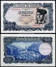 Description: A beautiful crisp uncirculated banknote from Spain. This is the 23 July 500 Peseta. The banknote, which is a one year issue, has blue-gray and black coloring on multicolor under-pri Drivers License Pictures, E 500, Retro Images, Writers And Poets, Curious Cat, Rare Coins, Native Indian, Art History, Nostalgia