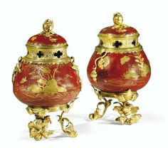A PAIR OF GILT-BRONZE MOUNTED RED LACQUER POT-POURRIS, LOUIS XV