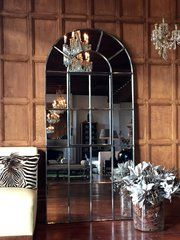 Tall arch Danish interior mirror restored by Aldgate Home . Window Pane Mirror, Arch Mirror, Mirror Door, Living Room Decor Cozy, Living Room Mirrors, Living Rooms, Arched Doors, Windows And Doors, Antique Windows