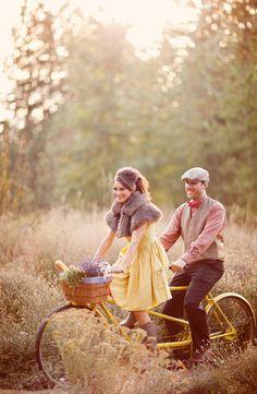 Rustic woody outdoor forest wedding attire | vintage bride & groom | Retro bicycle