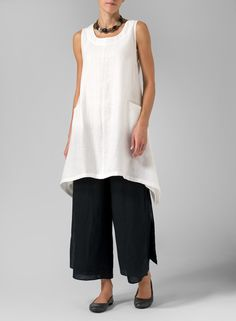 Linen High-Low Extra Long Cream White Tunic Set