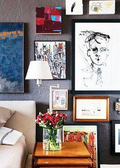 Masculine and modern art gallery wall