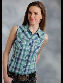 "Womens Sleeveless Cowgirl Shirt - ""Western Wind"""
