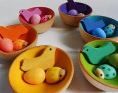 Montessori wood color matching and sorting bird egg ladybug bowl game