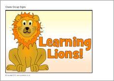 Lion class group signs (SB9892) - SparkleBox