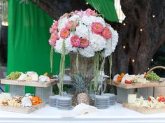 Pink peony and white hydrangea centerpiece