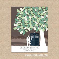 Wedding Tree Guestbook, Alternative Wedding Guestbook, Wedding Art, Doctor Who Wedding // Choose Art Print or Canvas // W-T05-1PS