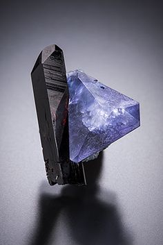 Benitoite and Neptunite - Benitoite Gem Mine, San Benito County, California, USA Size: 1.6 x 1.3 x 0.8 cm