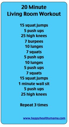 20 minute living room workout! This is a great workout!! Beat the heat!