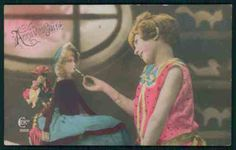 Child-girl-light-cigarette-to-smoking-Doll-original-old-1920s-photo-postcard