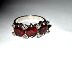Vintage Garnet and Marcasite Geode Jewelry, Marcasite Jewelry, Garnet Jewelry, Garnet Rings, Red Stuff, My Birthstone, Material Things, Victorian Jewelry, Ring Ring
