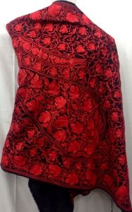 Red color embroidery on black stole with aari and embroidery work. beautiful design