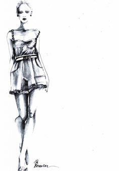 Fashion illustration of a model in a short dress - fashion drawing; fashion sketch // Inam