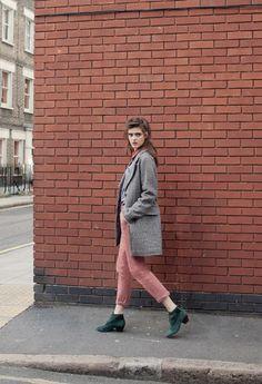 Sessun - pink pants + grey coat