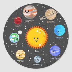 Solar system kawaii illustration sun and planets classic round sticker Solar System Projects For Kids, Solar System Art, Solar System Poster, Solar System Model, Solar System Crafts, Planets In Solar System, Drawing Of Solar System, Outer Space Crafts, Space Crafts For Kids