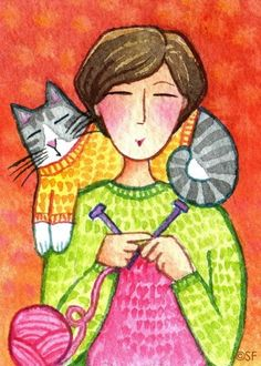 knitting with kitty