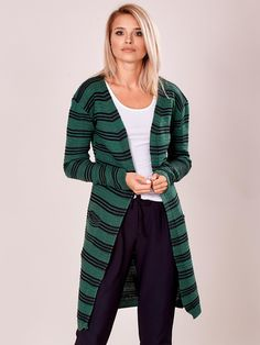 Krásny dámsky kardigán zelený, veľkosť UNI, vhodný pre S, M Uni, Duster Coat, Sweaters, Jackets, Fashion, Hair Ideas, Down Jackets, Moda, Fashion Styles