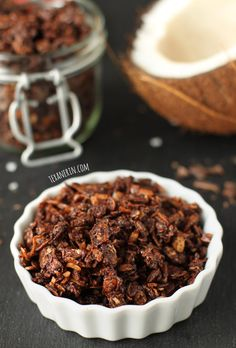 This Chocolate Coconut Granola is so easy to make and just sweet enough! From texanerin.com