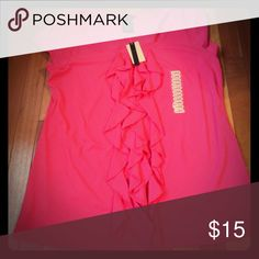 Ruffle with Pizzazz Fuchsia color top with a sassy ruffle from top to bottom in the front. Short sleeves. Brand new🌺 Grace Elements Tops