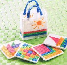Free Plastic Canvas Parrot Patterns | TROPICAL ESCAPE - Beach Bag and Coasters - Plastic Canvas PATTERN
