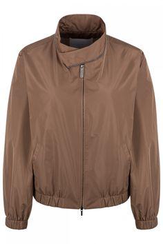 Fabiana Filippi Damen Nylonblouson Braun | SAILERstyle Nylons, Bomber Jacket, Shirts, Athletic, Zip, Jackets, Fashion, Mandarin Collar, Knit Jacket