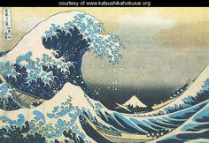 I always love these japanese prints- Hokusai was one of the greatest ukiyo-e painters, known especially for the Thirty-six Views of Mount Fuji series. One of the best known ukiyo-e paintings, The Great Wave off Kanagawa, is part of this series. Great Wave Off Kanagawa, Japanese Waves, Japanese Prints, Japanese Style, Vintage Japanese, Traditional Japanese Art, Ancient Japanese Art, Japanese Aesthetic, Ancient Art