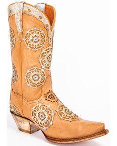 376b9a05498 Dan Post Womens Circus Flower Western Boots - Snip Toe, Tan | Art ...