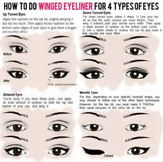 Apply winged eyeliner that works for your eye shape. | 15 Game-Changing Eyeliner Charts If You Suck At Makeup