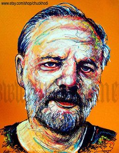 Print 8x10  Philip K Dick  Portrait Science Fiction by chuckhodi (Art & Collectibles, Drawing & Illustration, portraits, lowbrow art, android, nerd, science, blade runner, books, vintage, reading, writers, author, cyberpunk, steampunk)