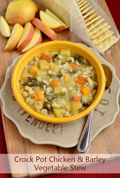 Crock Pot Chicken & Barley Vegetable Stew is packed with comforting, good-for-you ingredients. A must-have recipe for fall and winter! | iowagirleats.com
