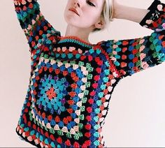 Croceted granny square sweater. Tessa perlow