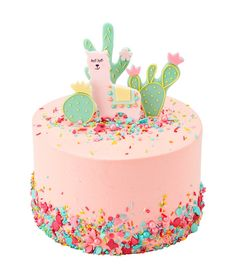 Lucky Llama Inch Single Tier (Image shown, 10 large Slices or 20 Party Portions) / Red Velvet - Lama cake - Harry Potter Torte, Peggy Porschen Cakes, Cactus Cake, Flamingo Cake, Cake Show, Cake Sizes, Star Cakes, Dinosaur Cake, Mermaid Cakes