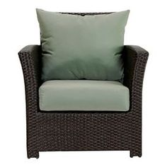 """Indoor/outdoor arm chair with Sunbrella cushions.    Product: Club chairConstruction Material: Polyethelene, powder coated aluminum and SunbrellaColor: Black and greenDimensions: 30"""" H x 29"""" W x 34"""" DCleaning and Care: Frame can be cleaned with a mild detergent and water. Upholstery can be machine washed and air dried."""