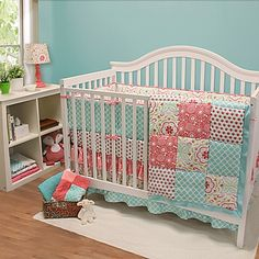 Create a boldly chic nursery for your little miss with The Peanut Shell's spirited Gia Crib Bedding Collection featuring a mix of playful prints in coral, aqua, green, and white.