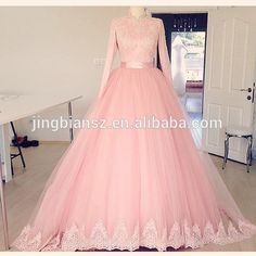 Real sample most popular design lace embroidery Long sleeves high neck pink ball gown muslim wedding dress #OW588