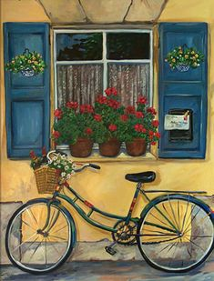 Cottage window with a bicycle.  Very quaint and reminiscent of the old country.