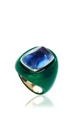 18 K White Gold And Steel Cabochon Sugar Loaf Ceylon Sapphire Ring by SABBADINI (=)