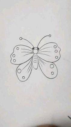Cool Pencil Drawings, Cute Easy Drawings, Cute Cartoon Drawings, Art Drawings For Kids, Art Drawings Sketches Simple, Animal Drawings, Flower Art Drawing, Butterfly Drawing, Desenho Kids