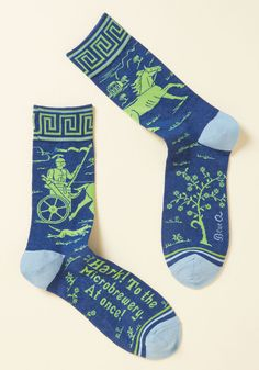 Hops on for a Ride Men's Socks. With his fixie as his steed, his hard part as his helmet, and these blue socks as his armor, your gent will parade to the microbrewery in legendary style.  #modcloth