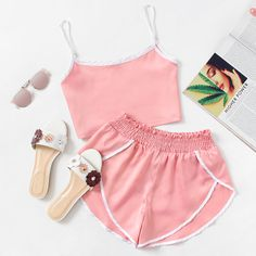 Satin Contrast Trim Crop Cami Top With Shorts