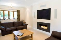 Gazco Studio 2 Open Fronted Hole in the Wall Gas Fire with pebbles and graphite steel frame