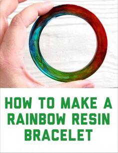 Resin bracelet DIY tutorial. How to make your own rainbow swirl resin bracelet.