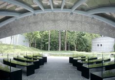 I love the mix of minimalist-modern and organic details (the church seats have pressed leaves details) Interior of the Leaf Chapel in Kobuchizawa by Klein Dytham Architecture St Thomas Church, Leaf Projects, Chapel Wedding, Wedding Chapels, Modern Church, Church Design, New Builds, Outdoor Rooms, Modern Minimalist