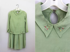 1920s GREAT GATSBY mint green embroidered drop waist day dress  XS S. $129.00, via Etsy.